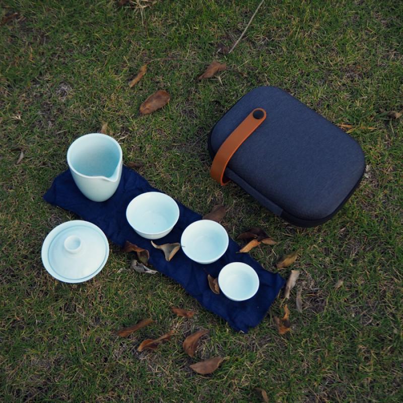 Набор посуды (гайвань, чахай, пиалы) и чехол