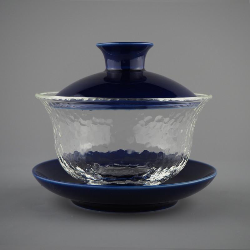 Гайвань из рельфного стекла с синей крышкой