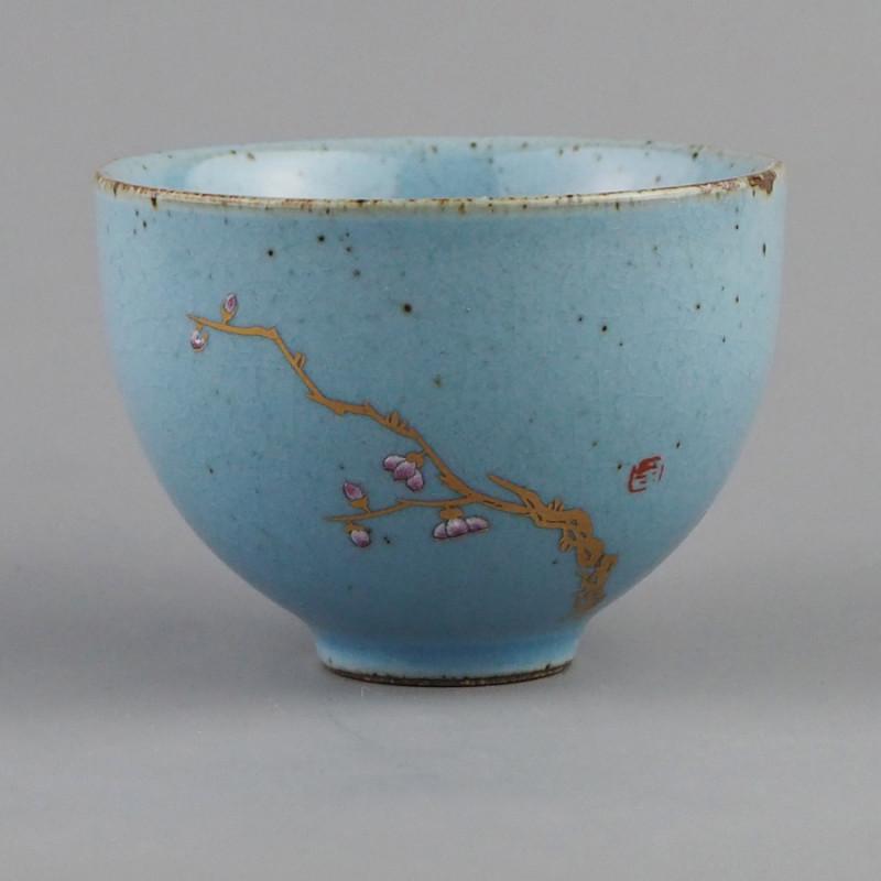 Пиала для чая светло-голубая с ветвью, объем 80 мл