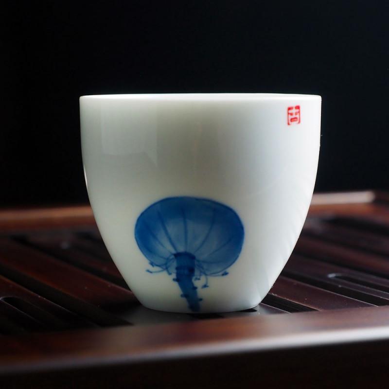Пиала для китайского чая с рисунком чаши лотоса синего цвета, объем 65 мл   Чайнотека